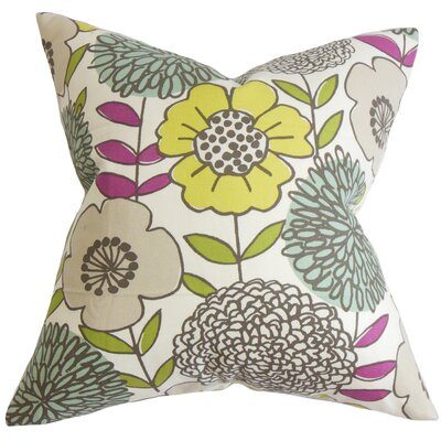 Veruca Floral Cotton Throw Pillow Color: Citron, Size: 24 x 24