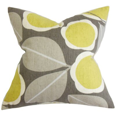Brice Floral Cotton Throw Pillow Color: Citrine, Size: 18 x 18