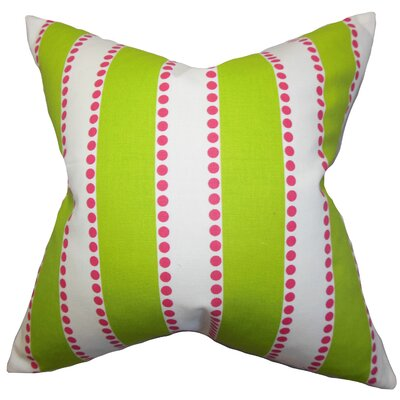 Odienne Stripe Cotton Throw Pillow Color: Green, Size: 18 H x 18 W