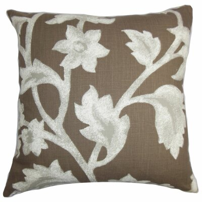 Taina Floral Cotton Throw Pillow Color: Cocoa, Size: 18 x 18
