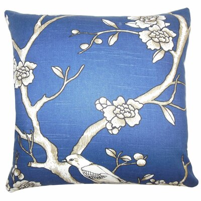Mangels Floral Cotton Throw Pillow Cover Color: Blue White