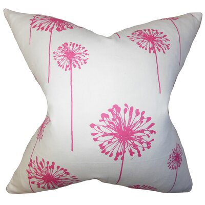 Dandelion Floral Cotton Throw Pillow Cover Color: Pink