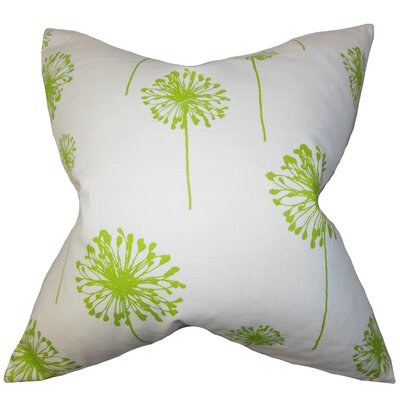 Dandelion Floral Cotton Throw Pillow Cover Color: Green