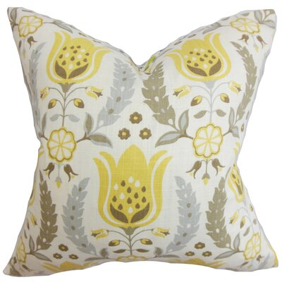 Mifflin Floral Cotton Throw Pillow Color: Zest, Size: 18 x 18