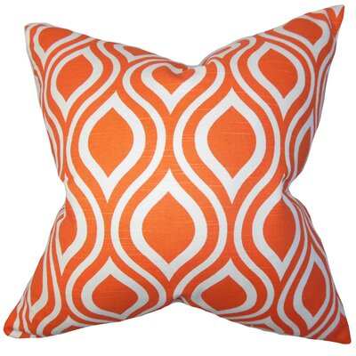 Larch Geometric Throw Pillow Cover Color: Orange
