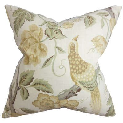 Iselin Floral Cotton Throw Pillow Color: Parchment, Size: 24 x 24