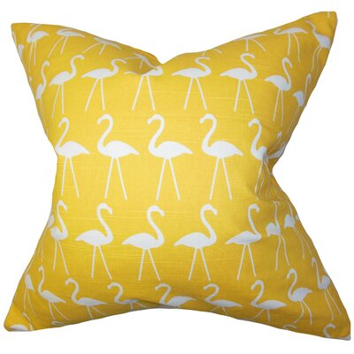 Brylee Animal Print Cotton Throw Pillow Color: Corn Yellow, Size: 18 x 18