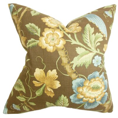 Champlin Floral Cotton Throw Pillow Color: Tourmaline, Size: 18 x 18