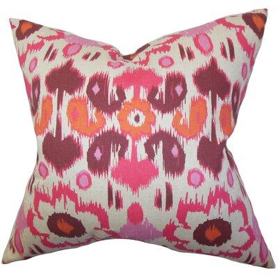 Perrysburg Ikat Cotton Throw Pillow Cover Color: Pink