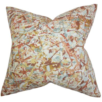 Geneen Geometric Cotton Throw Pillow Color: Brown, Size: 18 x 18