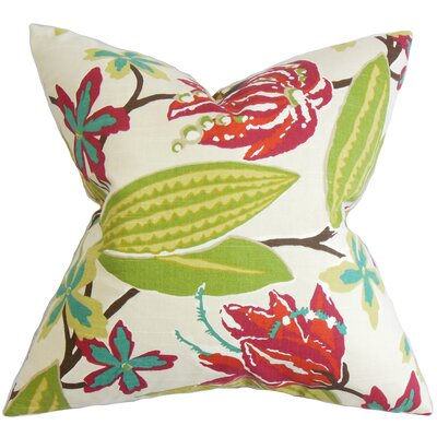 Bryleigh Floral Cotton Throw Pillow Color: Fuchsia, Size: 24 x 24