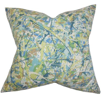 Geneen Geometric Cotton Throw Pillow Color: Green, Size: 18 x 18