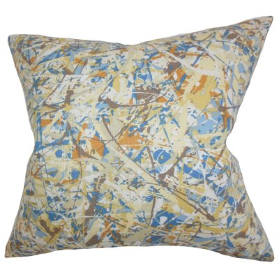 Geneen Geometric Cotton Throw Pillow Color: Yellow, Size: 18 x 18