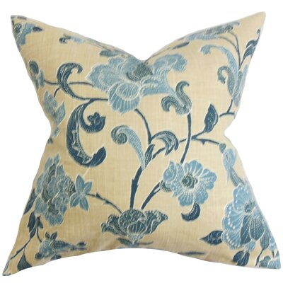 Duscha Floral Throw Pillow Cover Size: 20 x 20, Color: Natural Blue