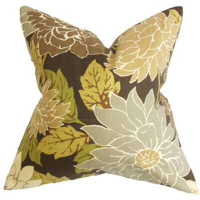 Ashendon Floral Cotton Throw Pillow Color: Teak, Size: 24 x 24