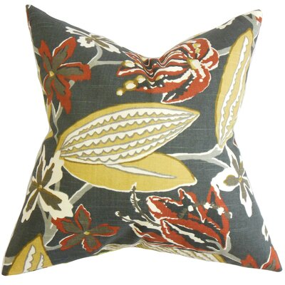 Bryleigh Floral Cotton Throw Pillow Color: Storm, Size: 24 x 24