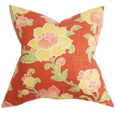 Duscha Floral Throw Pillow Color: Rustic Red, Size: 18 x 18