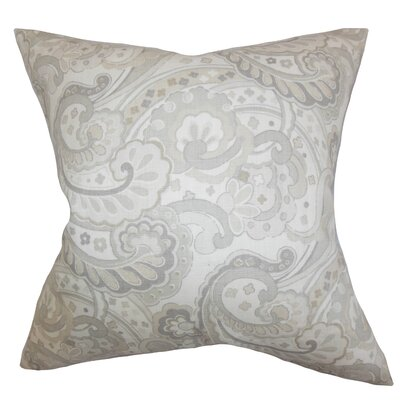 Iphigenia Floral Linen Throw Pillow Color: Gray White, Size: 22 x 22
