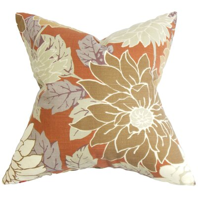 Ashendon Floral Cotton Throw Pillow Color: Terracotta, Size: 24 x 24