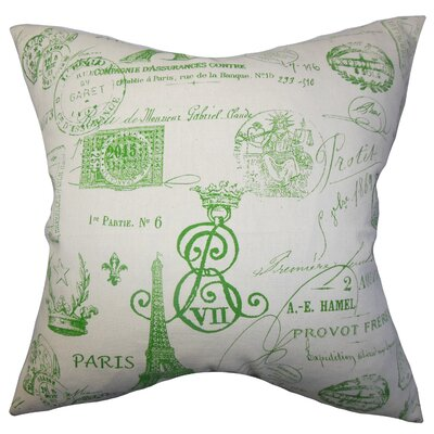 Geva Typography Bedding Sham Color: Green, Size: King