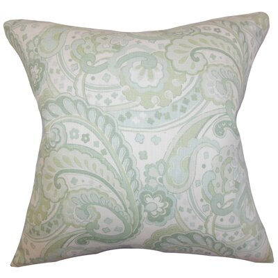 Iphigenia Floral Linen Throw Pillow Color: Green, Size: 18 x 18