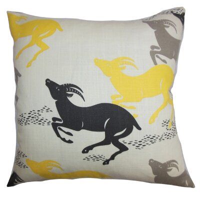 Deklan Animal Print Throw Pillow Cover Color: Yellow Gray
