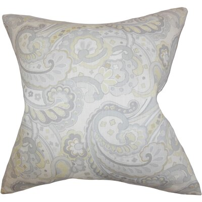 Iphigenia Floral Linen Throw Pillow Color: Gray, Size: 18 x 18