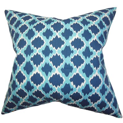 Welcome Geometric Bedding Sham Size: Queen, Color: Blue