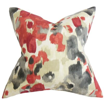 Delyne Floral Throw Pillow Cover Color: Red