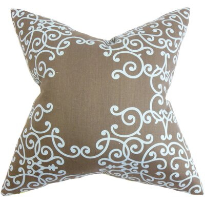 Fianna Floral Cotton Throw Pillow Color: Espresso, Size: 18 H x 18 W