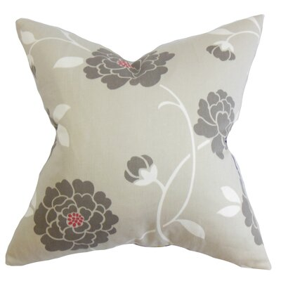 Graziella Floral Cotton Throw Pillow Color: Dove, Size: 20 x 20