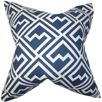 Rhodes Geometric Cotton Throw Pillow Color: Blue, Size: 18 x 18