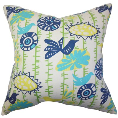 Nettle Floral Cotton Throw Pillow Cover Color: Yellow Blue