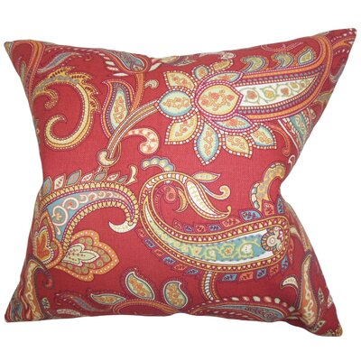 Glasgow Floral Throw Pillow Color: Red, Size: 18x18