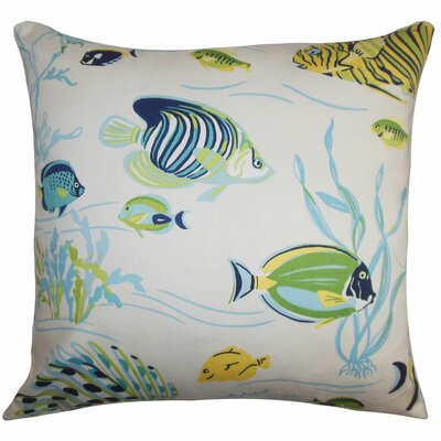 Niju Coastal Cotton Throw Pillow Color: Ocean, Size: 22 x 22
