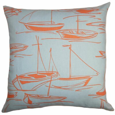 Gamboola Nautical Cotton Throw Pillow Cover Size: 20 x 20, Color: Coral Sea