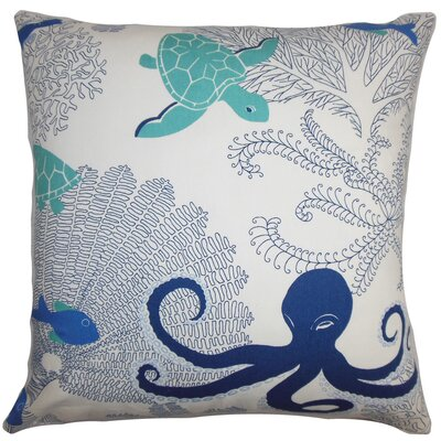 Ondine Coastal Cotton Throw Pillow Color: Atlantic, Size: 18 x 18