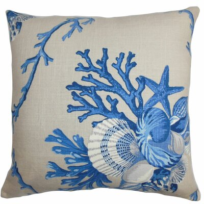 Maj Coastal Throw Pillow Color: Natural Blue, Size: 22 x 22