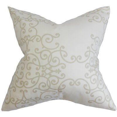 Paulding Floral Cotton Throw Pillow Color: Birch, Size: 18 H x 18 W