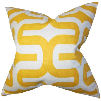 Suzanne Cotton Throw Pillow Cover Size: 18 H x 18 W, Color: Yellow