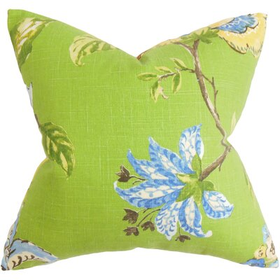 Jeanine Floral Cotton Throw Pillow Cover Color: Green