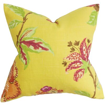 Jeanine Floral Cotton Throw Pillow Cover Color: Yellow