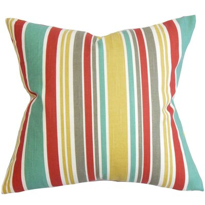 Kirsi Stripe Cotton Throw Pillow Color: Poppy, Size: 18 x 18