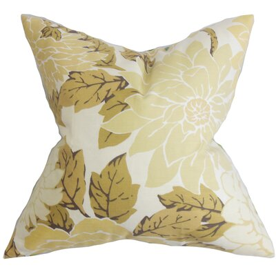 Ashendon Floral Cotton Throw Pillow Color: Sandstone, Size: 18 x 18