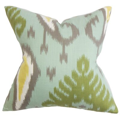 Bentshaya Ikat Throw Pillow Cover Color: Aquamarine