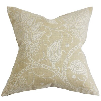 Brinkworth Floral Throw Pillow Color: Latte, Size: 20 x 20