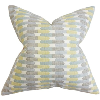 Malus Geometric Cotton Throw Pillow Color: Rain, Size: 24 x 24
