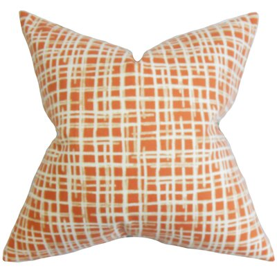 Onslow Plaid Cotton Throw Pillow Color: Persimmon, Size: 18 x 18
