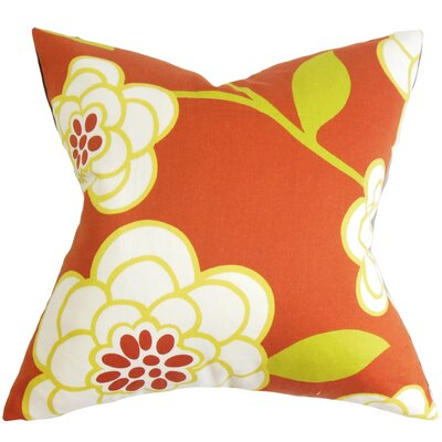 Parkstone Floral Cotton Throw Pillow Color: Geranium, Size: 24 x 24