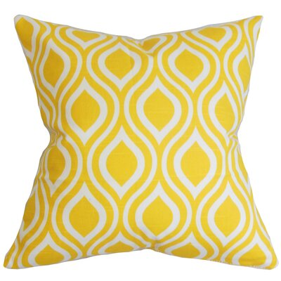 Poplar Geometric Cotton Throw Pillow Color: Yellow, Size: 24 x 24